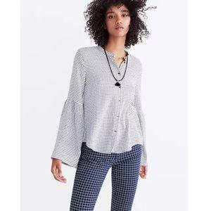 Madewell | Bell Sleeve Button Shirt in Windowpane